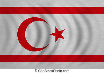 Flag of Northern Cyprus wavy, real fabric texture - Northern...