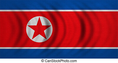 Flag of North Korea wavy, detailed fabric texture - North...