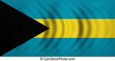 Flag of Bahamas wavy, real detailed fabric texture -...