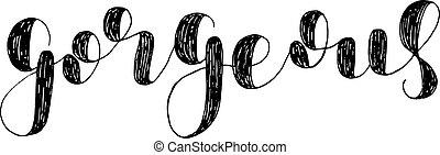 Gorgeous. Brush lettering illustration.