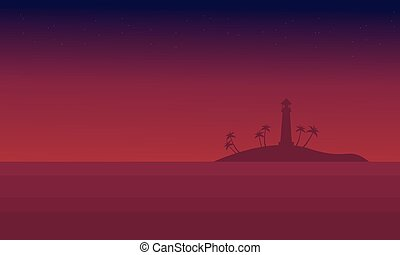 Scenery seaside at night of silhouette