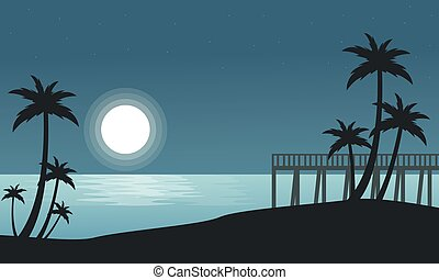 Silhouette of seaside with moon landscape