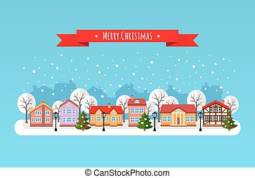 Vector illustration of Christmas cityscape.