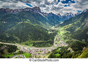 Beautiful view of small town in Dolomites