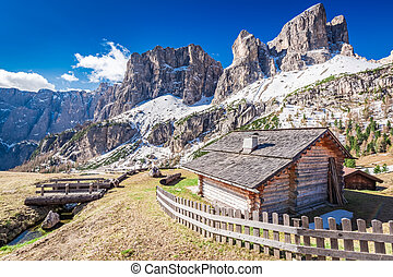 Beautiful small mountain hut in the dolomites, Italy