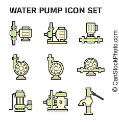 Water pump icon - Water pump vector icon set isolated on...