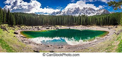 Breathtaking view to mountain Carezza lake in Dolomites,...