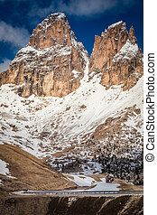 Road and the great peak in the Dolomites, Italy