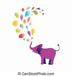 Purple baby elephant - Baby elephant spraying colourful...