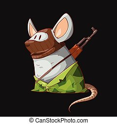 Cartoon mouse terrorist - Colorful vector illustration of a...