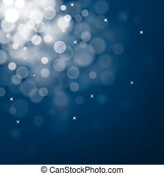 Decorative christmas background with blue bokeh lights