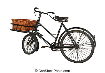 Vintage (1940s/50) baker\'s bicycle, isolated on pure white...