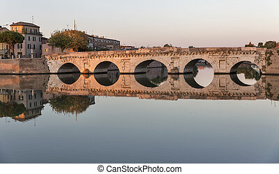 Bridge of Tiberius in Rimini, Italy.