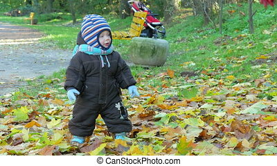 Beautiful baby is playing in autumn park with her mother about fallen leaves. The child is warmly dressed in a suit and a hat with a scarf, the boy about a year