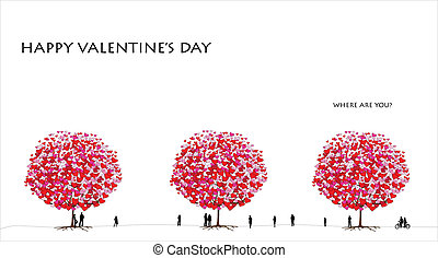 valentine day card - love tree series, card design for...