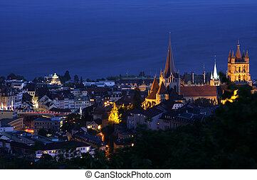 Lausanne, Geneva lake, Switzerland - details night panorama...