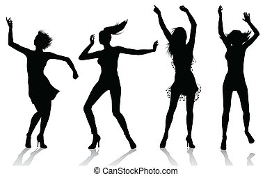 Dancing Girl Silhouettes - Vector silhouettes of girls...