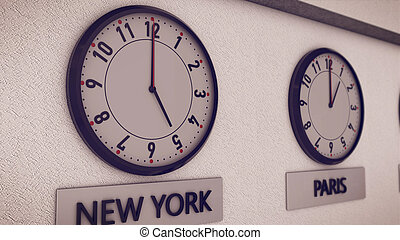Clocks on wall, symbol for Greenwich Mean Time - 3d...