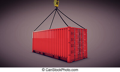 red cargo container with a hook - 3d rendering of the red...