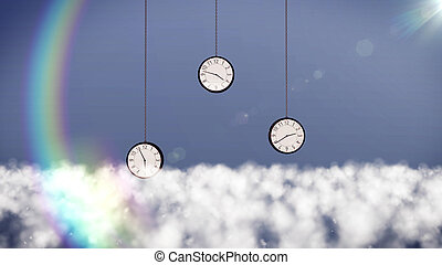clocks over clouds in the sky.