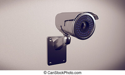 Security cameras frontal view - 3d rendering of Security...