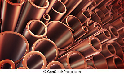 Heap of shiny metal steel pipes