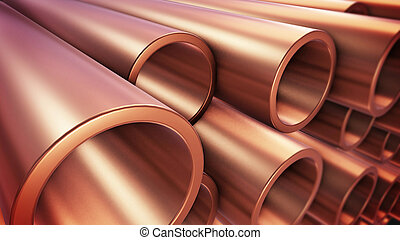Copper pipes - 3d rendering of Copper pipes with selective...