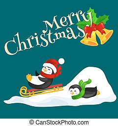 two happy cute Christmas penguin in hat and scarf sledding...