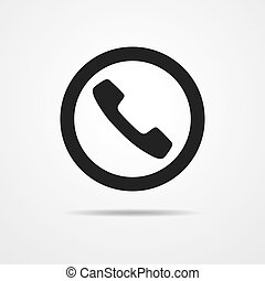Black handset icon. Vector illustration. Simple handset icon...