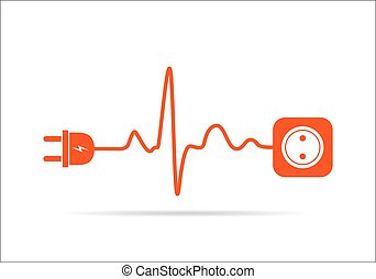Extension cord in the form of heartbeat. Vector...