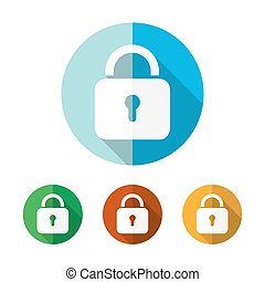 Set of colored padlock icons. Vector illustration. - Set of...