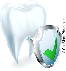 Tooth and Shield Concept - A medical dental illustration of...
