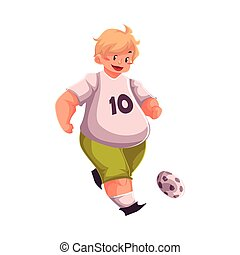Fat boy playing football, getting fit, active lifestyle