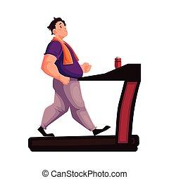 Fat man walking on the treadmill cartoon vector illustration