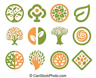 Isolated abstract green, orange color natural logo set....