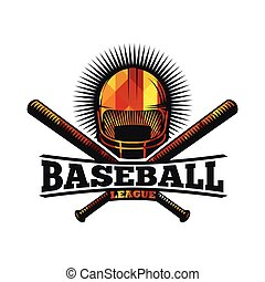 Isolated abstract colorful baseball helmet with bats logo....