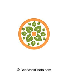Isolated abstract round shape natural logo. Green leaves in...