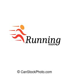 Isolated abstract orange color running man logo. Human silhouette in motion logotype. Sport icon. Fitness sign. Jogging people symbol. Vector running man illustration.