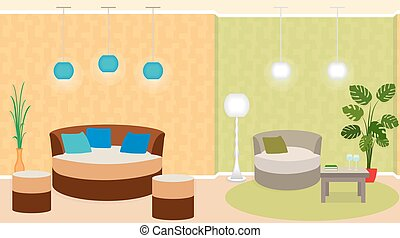 Dual zone living room interior with furniture, and...
