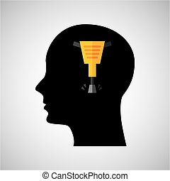head silhouette jackhammer construction icon graphic vector...