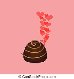 chocolate candy hearts dessert icon vector illustration