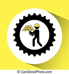 character man construction gears with bricks icon