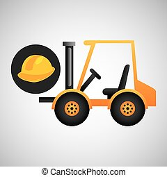forklift truck construction helmet icon graphic vector...