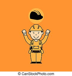 avatar man construction worker with helmet icon