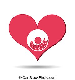 heart red cartoon donut icon design