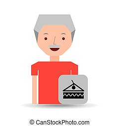 man cartoon dessert slice cake cherry design icon vector...