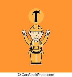 avatar man construction worker with hammer tool icon