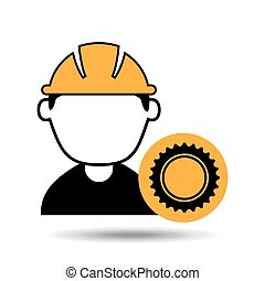 avatar man construction worker with gear engine icon vector...