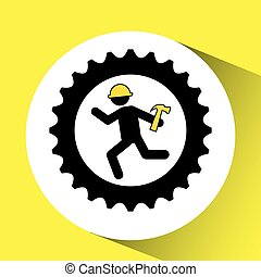 character man worker construction and gears with hammer icon