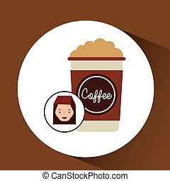 woman cute cup coffee cream graphic vector illustration